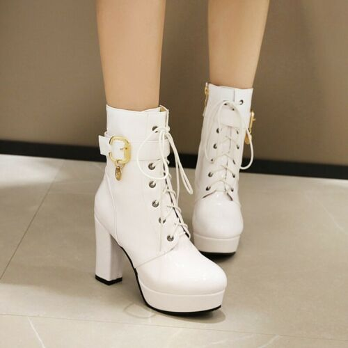 Details about  /Gothic 46//47//48 Women Ankle Boots Riding Knight Outdoor Punk Block Heel Shoes D