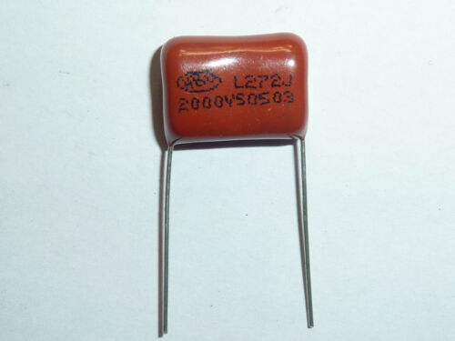 50PCS CBB81 272J 1600V 0.0027UF 2.7NF P15 Metallized Film Capacitor