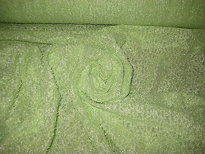 "LIGHT GREEN RAISE DESIGN 4 WAY STRETCH LACE/NET FABRIC 60"" W BY THE YARD"
