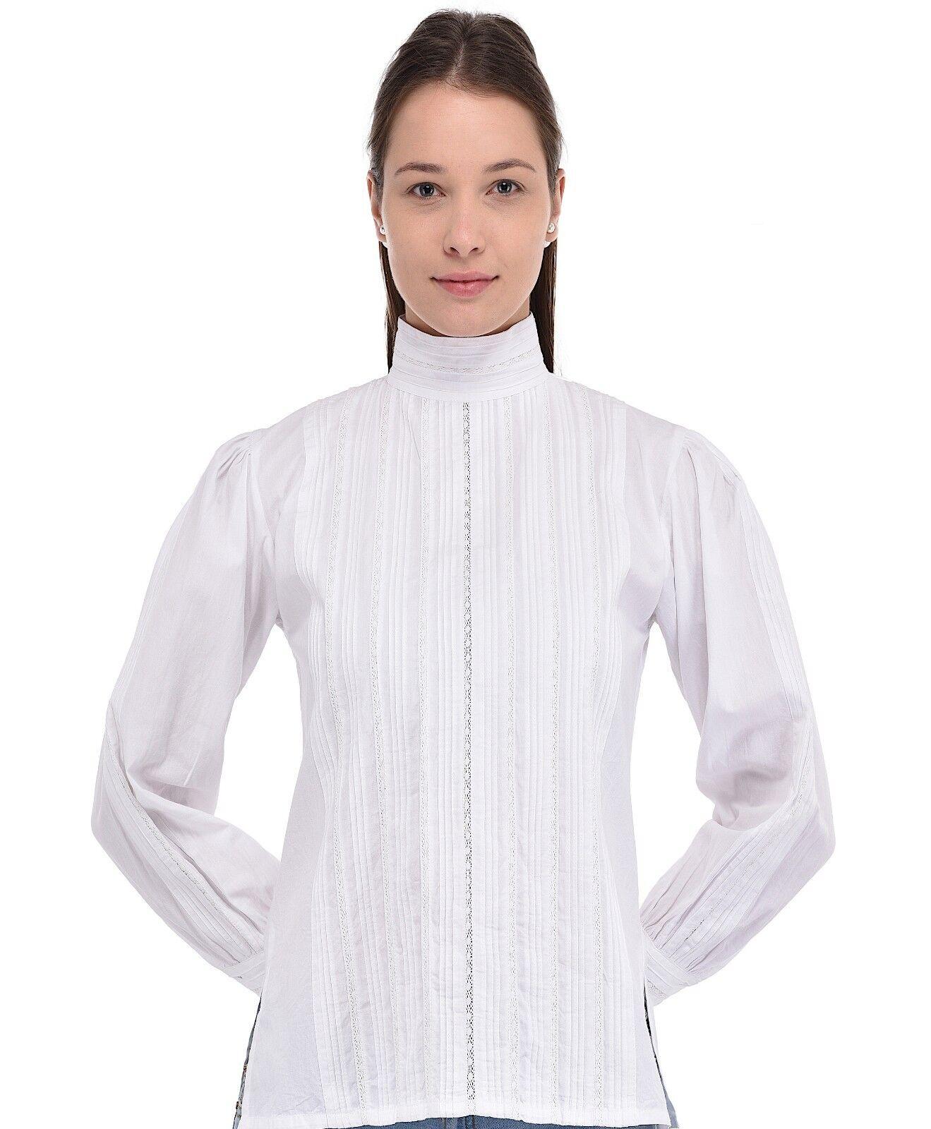 Weiß Victorian Edwardian Long Long Long Sleeve Blouse   Cotton Lane | Moderate Kosten  40306e