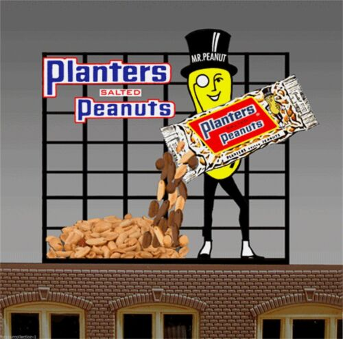 LIGHTS FLASHES /& MORE! PLANTERS PEANUTS BILLBOARD ANIMATED SIGN FOR HO-SCALE