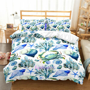 Single/Double/Queen/King Size Bed Doona/Duvet/Quilt Cover Set Sea Animal Blue