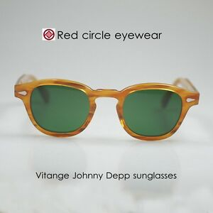 best quality a few days away good selling Details about Retro Vintage Johnny Depp sunglasses mens acetate BLONDE  round green glass lens