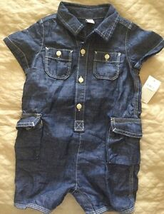 21995fc4884 NEW BABY GAP Toddler Denim Jean Jumpsuit Romper Shorts Blue sz 12 ...