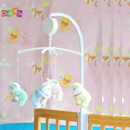 Rotary Baby Crib Mobile Bed Bell Toy Holder Arm Hanging White Music Box CS