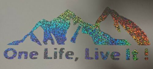 ONE LIFE LIVE IT ADVENTURE glitter sparkle stickers decals vinyl holographic car