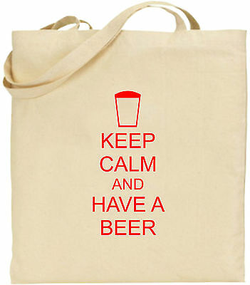 Keep Calm And Haben Einen Beer Groß Baumwolltasche Einkaufstasche Pub Comedy