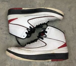 100% authentic 701ee f859c Details about AIR JORDAN 2 II Red White Retro Youth 7Y Boys 395718 101  Basketball 7 Y