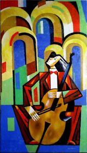 "Expressionist Anatoliy Chudinovskikh ""Musiker"" Öl Leinwand 170x95 cm"
