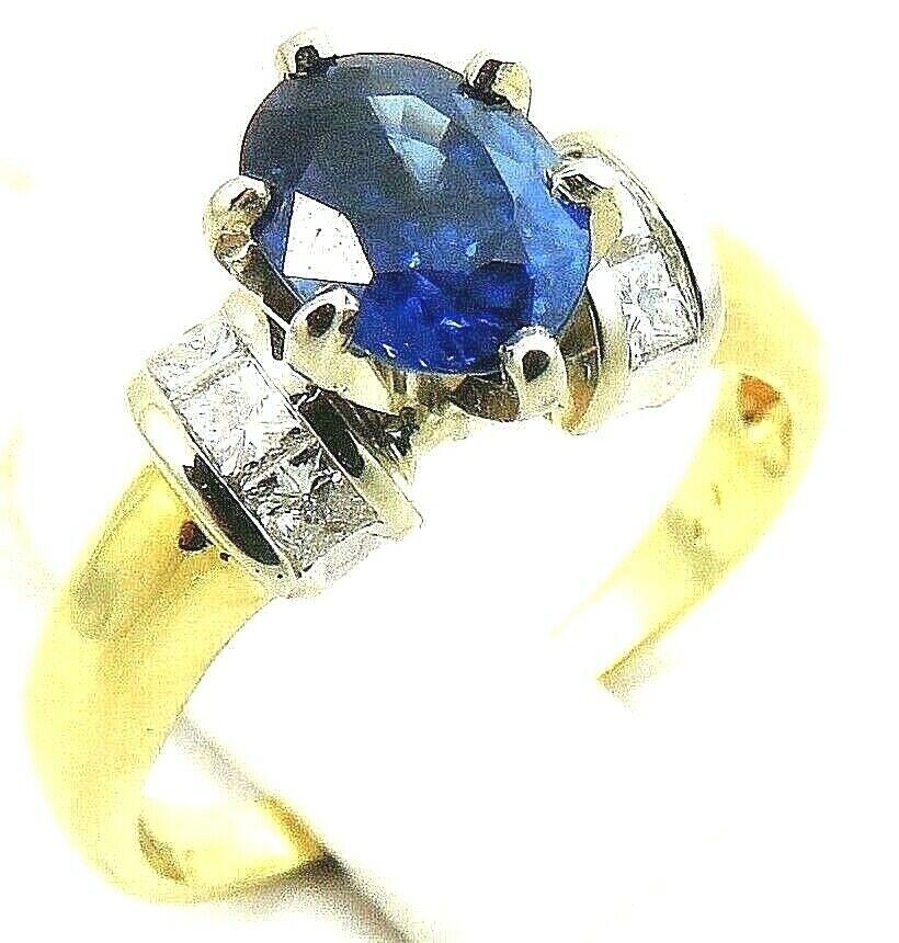 Fine Vintage 14k gold 6x8mm Sapphire .4ct Princess Cut Diamond Ring 4.5g
