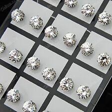 Wholesale Jewelry 24pcs 7mm Stainless Steel Cubic Zirconia Wedding Stud Earrings