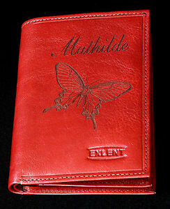 photos officielles 4c22b 39dd4 Détails sur portefeuille cuir vachette gravé personnalisé gravure papillon