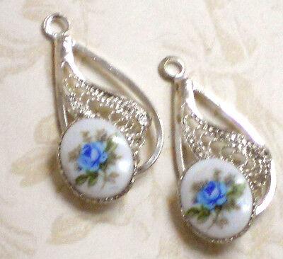 #662d Vintage Limoges Pendants Flower Drops Charms Oval Rose Roses Filigree
