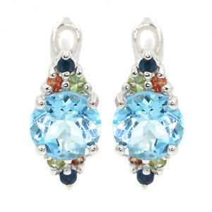 EARTH-MINED-8MM-SKY-BLUE-TOPAZ-MULTI-COLOR-SAPPHIRE-STERLING-SILVER-925-EARRING