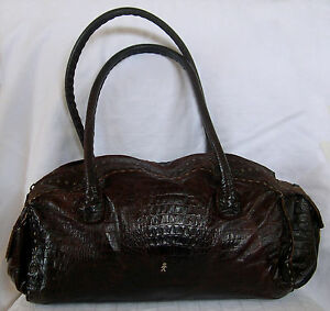 Image Is Loading Henry Beguelin Distressed Chocolate Brown Crocodile Embossed Leather