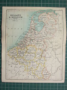 1904 SMALL MAP HOLLAND BELGIUM NORTH BRABANT FLANDERS