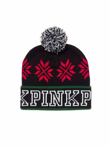 125094e9e46e7 Image is loading Victorias-Secret-PINK-Beanie-Snowflake-Winter-Hat-Black-