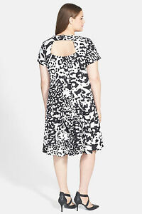 42e6a6d9871 ELIZA J Women s Plus Size Black   White Ponte Fit   Flare Dress -NWT ...