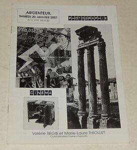 CATALOGUE de VENTES ARGENTEUIL 2001 : PHOTOGRAPHIE - CINEMA - AFFICHES - FILMS