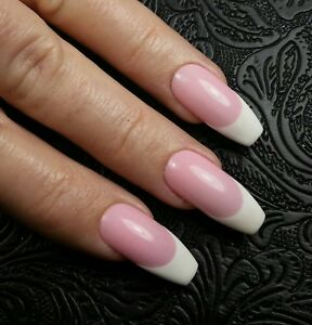 Details about 20 CLASSIC FRENCH ACRYLIC Pink White Long Coffin Ballerina  Nails Press On