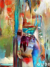 GUDI-Modern Abstract Hand-Painted Oil Painting Decorative Art Girl Unframed