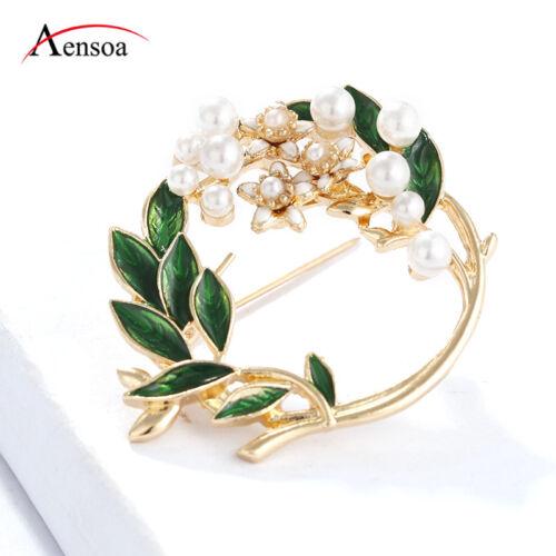 Nouveau Femmes Bijoux Perle Émail Feuilles Fleur Cercle Plant Broche Pin Fête Cadeaux