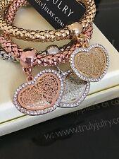 Designer Gold, Silver & Rose Gold Stretch Tri Bracelet With Diamanté Hearts.