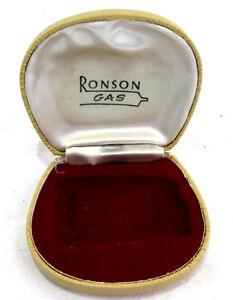 Ronson-Gas-Lighter-Box-Jewelry-Case-Tan-Hard-Shell-Red-Velvet-Lining-3-5-x-3