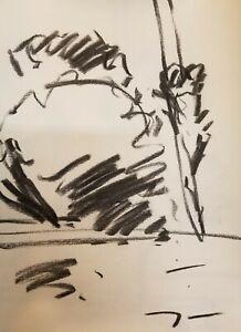 JOSE-TRUJILLO-Original-Charcoal-Paper-Sketch-Drawing-12-034-COLLECTIBLE-Artist