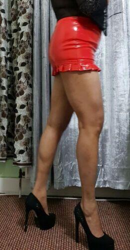 Pvc Micro Mini Skirt Women/'s Lipstick Red High Waist Short Wet Look Fitted