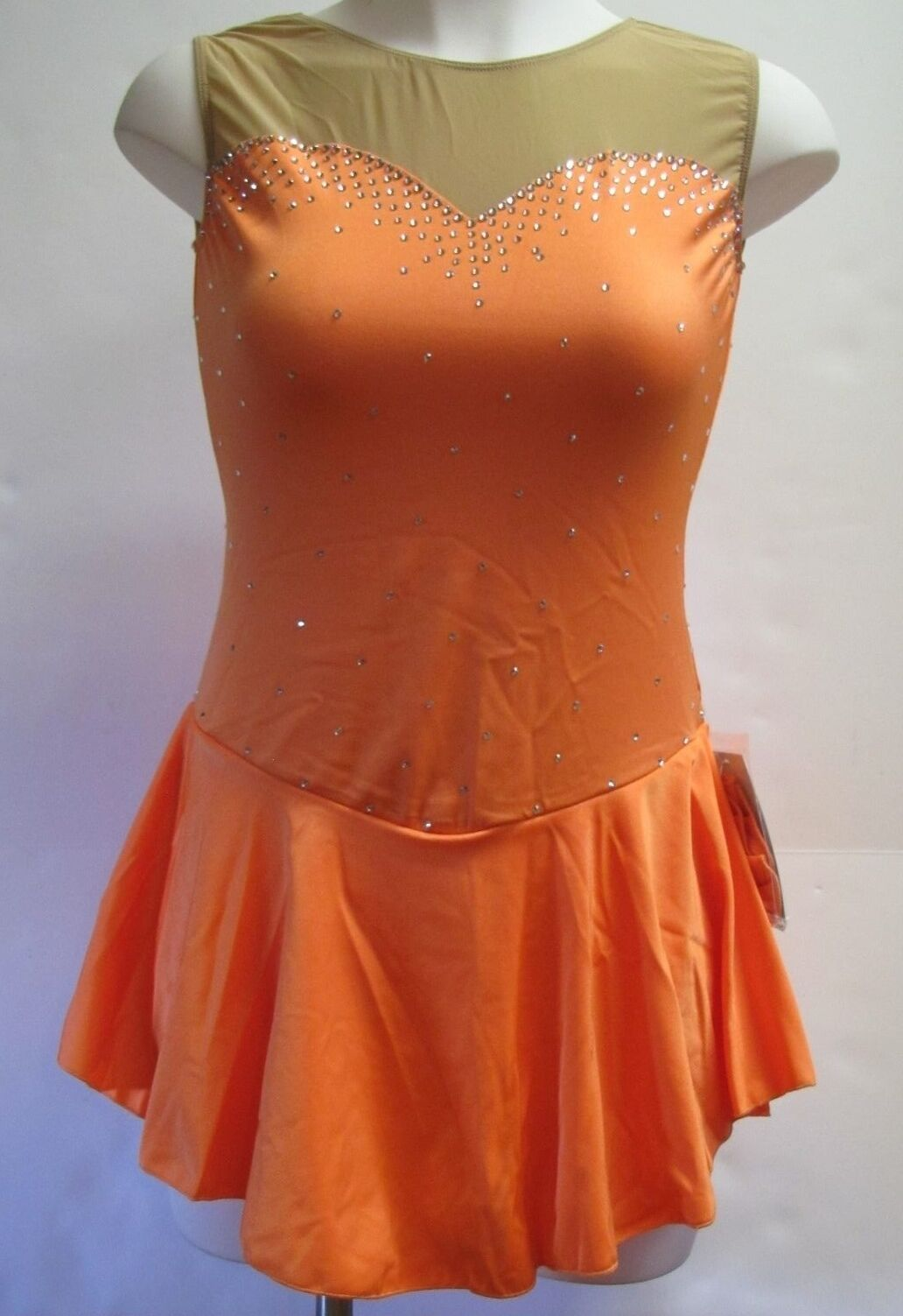COMPETITION ICE FIGURE SKATING DRESS Orange Sweetheart Crystals Adult M NWT