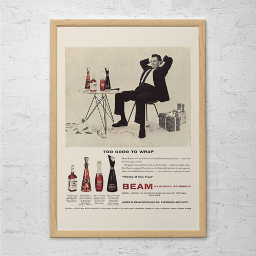 Vintage JIM BEAM WHISKEY Advertisement Mad Men Poster 1950s Retro Print Mid-Cent