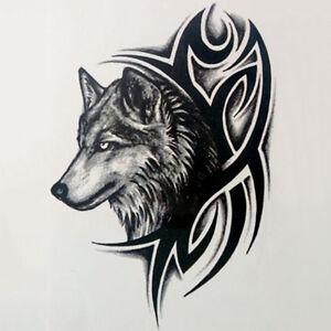 2x-Wolf-Head-Waterproof-Temporary-Removable-Tattoo-Body-Arm-Leg-Art-Sticker-BDfw