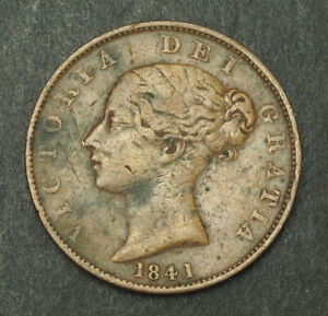 1844-Great-Britain-Queen-Victoria-Nice-Copper-Half-Penny-Coin-VF-VF
