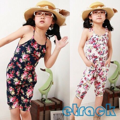 Child Toddler Girls Jumpsuit Short Summer Playsuit Soft Clothing One-piece 2-8Y