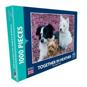 Ensemble en heather 1000 piece jigsaw puzzle westie yorkshires & collie chiens RSPCA  </span>