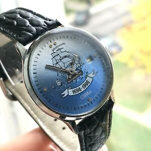 Vintage-SLAVA-Russian-Navy-300-Anniversary-Watch-Ship-Limited-Date-Collectible