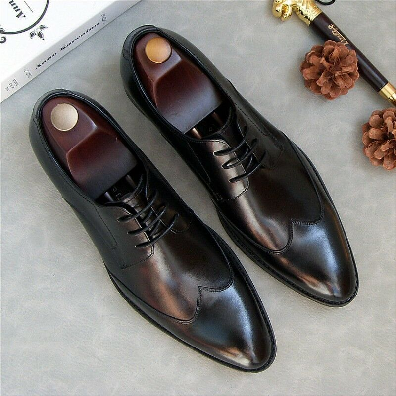 Luxury Men's Real Leather Pointy Toe Wingtip Dress shoes Formal Wear Lace UP new