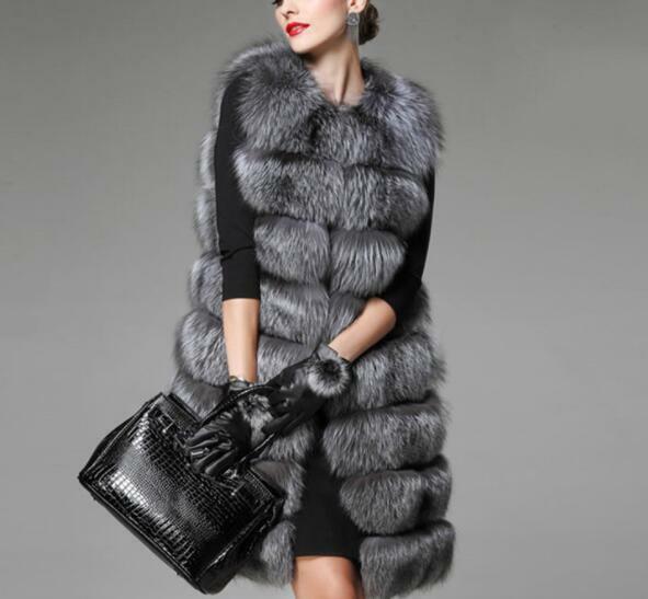 Hiver Chaud Femme Gilet Faux Fox fourrure sans hommeches gilet Outwear Long Party
