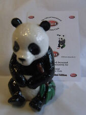 Wade Whimsie Day black and white panda green leaves