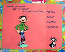 Humorístico RARO Postal Grande cumpleaños de GASTON LAGAFFE + funda