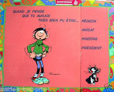 Humour RARE Grande carte postale d/'anniversaire de GASTON LAGAFFE enveloppe !