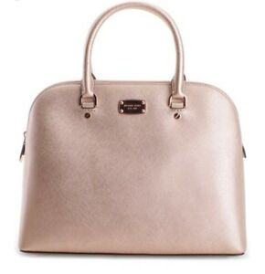 be50a8d6fcd1d Image is loading MICHAEL-KORS-Cindy-Rose-Gold-Leather-Handbag-Great-