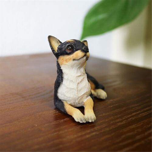 JJM Mignon Mini Chihuahua Chien Pet Animal figure résine Toy Kids Voiture Cadeau Décoration