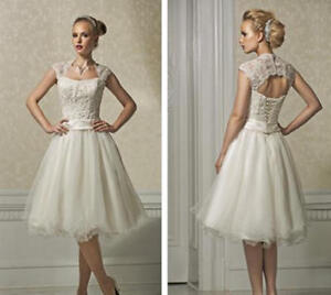 Short Wedding Dresses with Lace Cap Sleeves