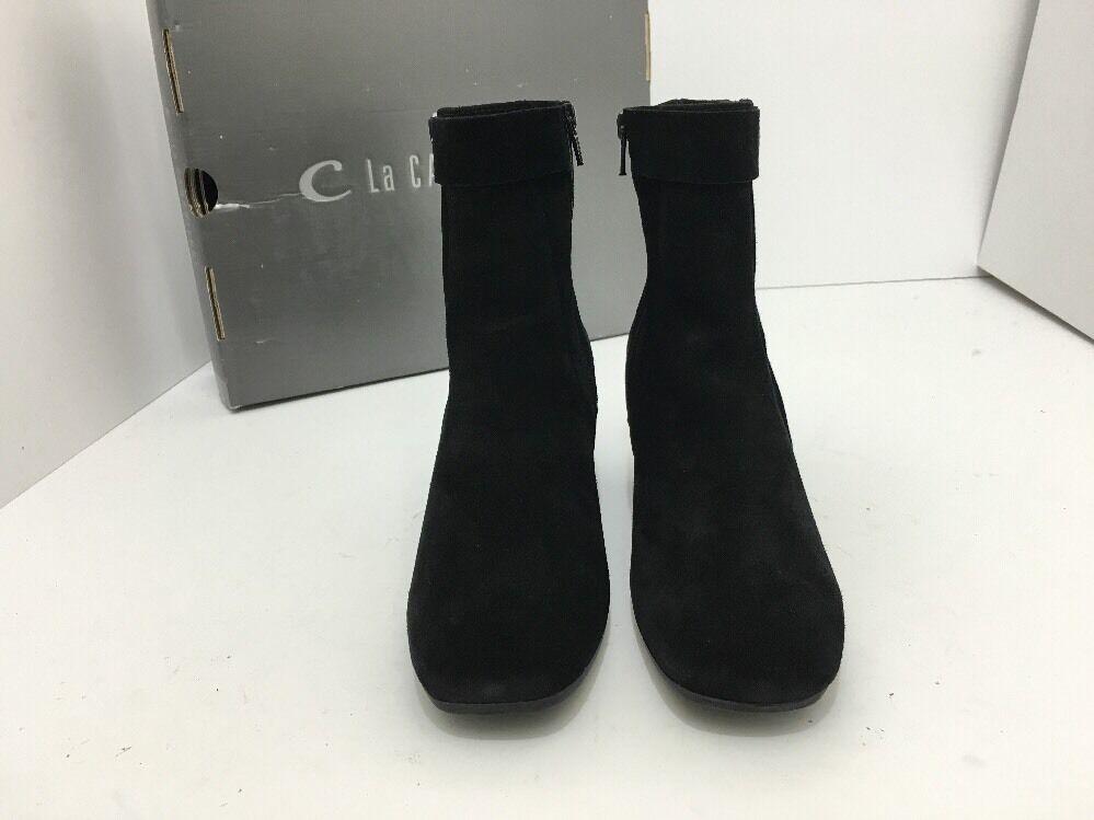 La Canadienne Joni para Mujer botas al tacón Tobillo Corto Impermeable Zapatos de tacón al de gamuza negra Talla 6 c00498