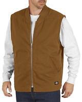 Dickies Men's Sanded Duck Insulated Vest - Te240 - Black Or Brown - Med-2x
