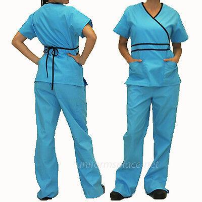 Medical Scrubs Set Women Contrast Mock Wrap Top &  Pant Sets Natural Uniforms