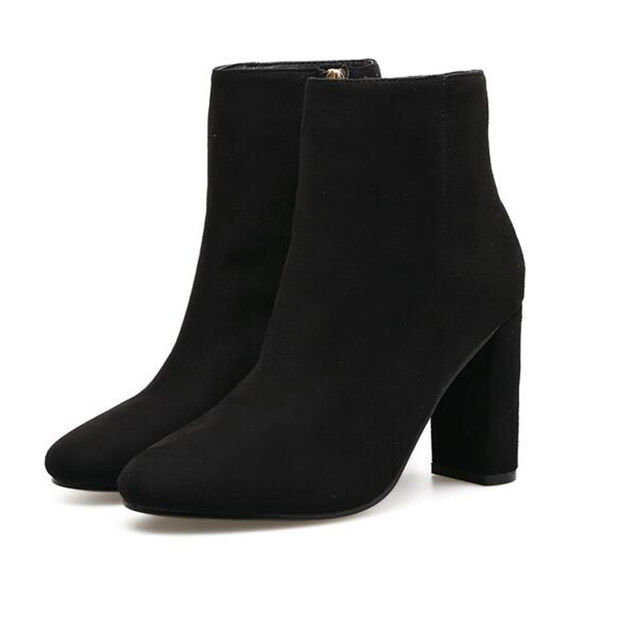 Boots low shoes high 9 cm black elegant like leather 9449