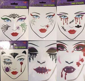 Image is loading Halloween-Glitter-Face-Tattoo-Stickers-Gem-Fancy-Dress-